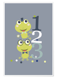 Premium poster Frogs playing with numbers
