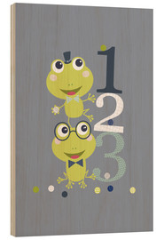 Wood print  Frogs playing with numbers - Jaysanstudio