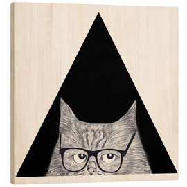 Wood print  Smart cat in triangle - Valeriya Korenkova