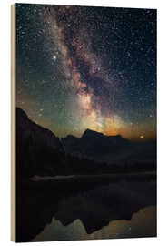 Wood print  Milky Way over the mountains - Matthias Köstler