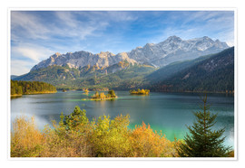 Premium poster  Autumn at the Eibsee with a view to the Zugspitze - Michael Valjak