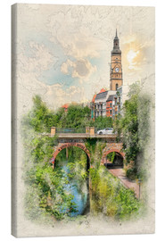 Canvas print  Leipzig, Karl Heine Canal, King Albert Bridge - Peter Roder