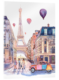 Acrylic print  Eiffel Tower and Citroen 2CV in Paris - Anastasia Mamoshina