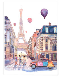 Premium poster Eiffel Tower and Citroen 2CV in Paris