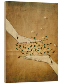 Wood print  Let's grow together - Sybille Sterk