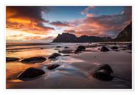 Premium poster Sunset in Lofoten, Norway