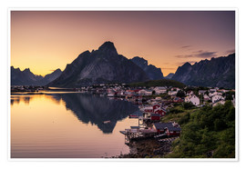 Premium poster Sunset in Reine, Lofoten, Norway