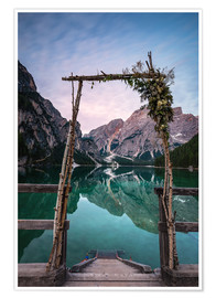 Premium poster Lago di Braies decorated