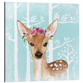 Aluminium print  Glamorous fawn with blossoms in the blue forest - UtArt