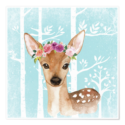 Premium poster Glamorous fawn with blossoms in the blue forest