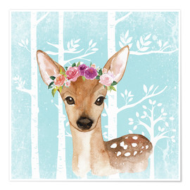 Premium poster  Glamorous fawn with blossoms in the blue forest - UtArt