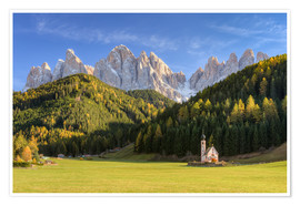 Premium poster Church in Val di Funes in South Tyrol