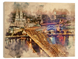 Wood print  Cologne Skyline Cologne Cathedral - Peter Roder