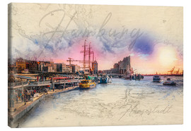 Canvas print  The landing bridges in Hamburg on the Elbe - Peter Roder