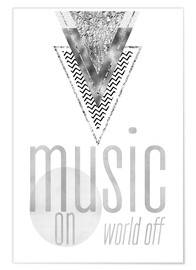 Premium poster GRAPHIC ART SILVER Music on World Off