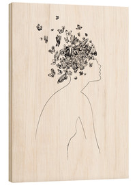 Wood print  Butterflies in the head - Wadim Petunin