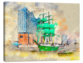 Canvas  Hamburg Elbphilharmonie with the sailing ship Alexander von Humboldt - Peter Roder
