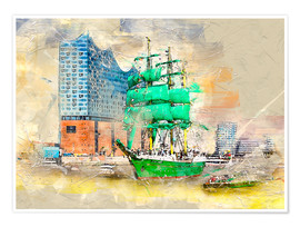 Premium poster Hamburg Elbphilharmonie with the sailing ship Alexander von Humboldt