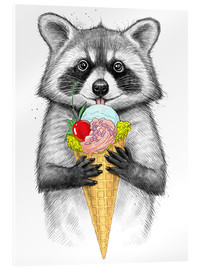 Acrylic print  Raccoon with ice cream - Nikita Korenkov