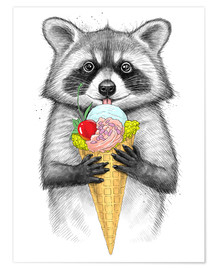 Premium poster  Raccoon with ice cream - Nikita Korenkov