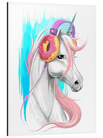 Aluminium print  Unicorn with headphones - Nikita Korenkov