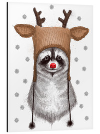 Aluminium print  Raccoon in Deer Hat - Nikita Korenkov