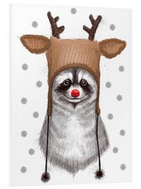 Foam board print  Raccoon in Deer Hat - Nikita Korenkov
