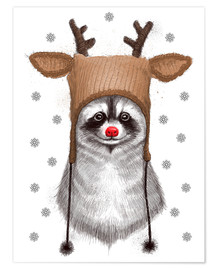Premium poster Raccoon in Deer Hat