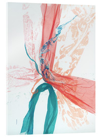 Acrylic glass  Peach and Teal abstract - Jan Sullivan Fowler
