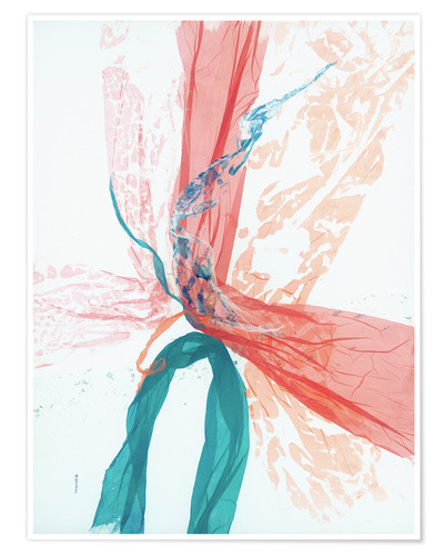Premium poster Peach and Teal abstract