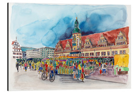 Aluminium print  Leipzig Weekly market in front of the Old Town Hall - Hartmut Buse