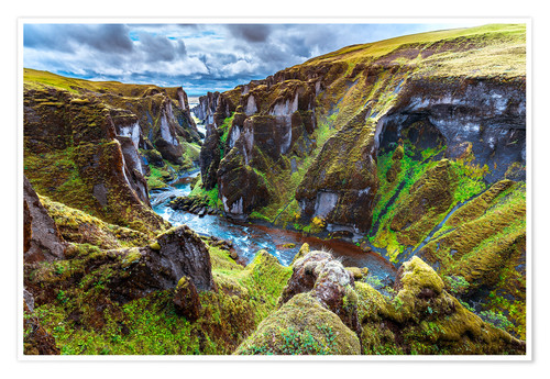 Premium poster Incredible volcanic Canyon on Iceland