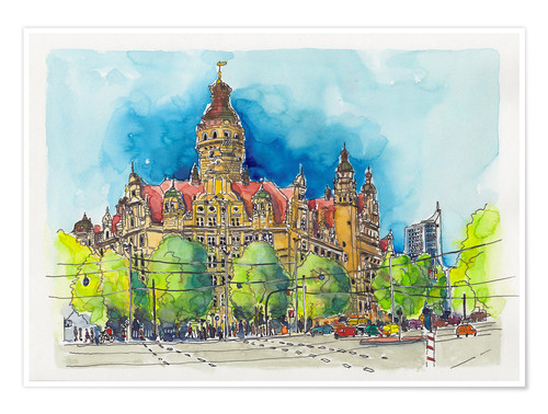 Leipzig New Town Hall Posters And Prints Posterlounge Com