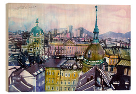 Wood print  Vienna, view to the Karls church - Johann Pickl