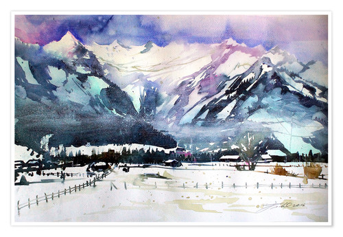 Premium poster Zell am See, view to the Kitzsteinhorn