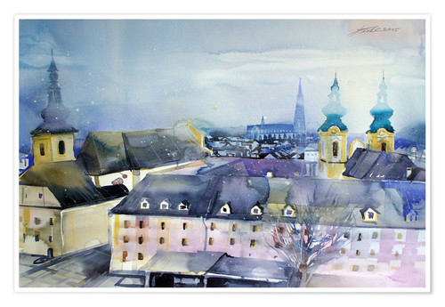 Premium poster Linz, view to Dom