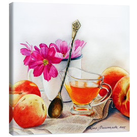 Canvas print  Peaches and flowers watercolor painting - Maria Mishkareva