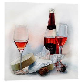 Acrylic glass  Wine and cheese watercolor painting - Maria Mishkareva