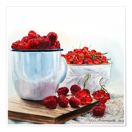 Premium poster Red berries watercolor painting