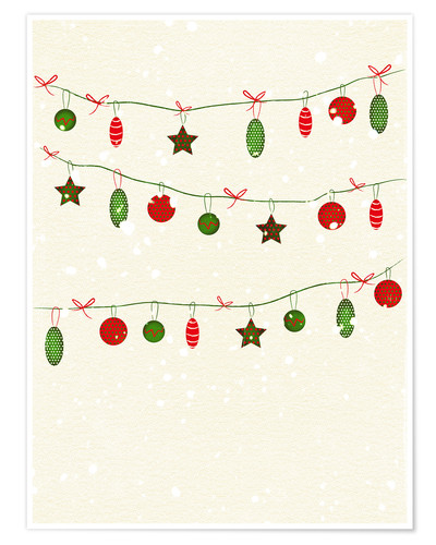 Premium poster happy holidays baubles