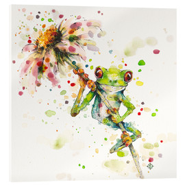 Acrylic glass  Hello There Bright Eyes (Green Tree Frog) - Sillier Than Sally