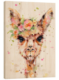 Wood print  Little llama - Sillier Than Sally