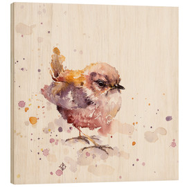 Wood print  Fluffy Le Wren (cute bird) - Sillier Than Sally