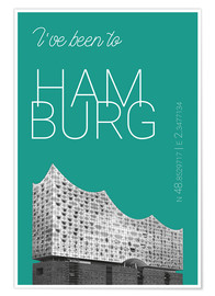 Premium poster Popart Hamburg Elbphilharmonie I have been to Color: Arcadia