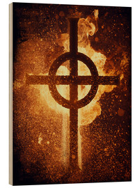 Wood print  burning cross - Sybille Sterk