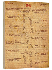 Wood print  Sun salutation, yoga - Sharma Satyakam
