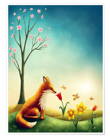Premium poster Fox in the spring