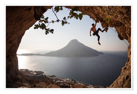 Premium poster Climber on the Kalymnos island, Greece