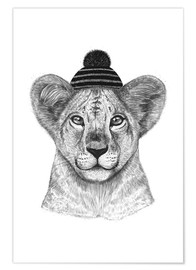 Premium poster Lion child with cap