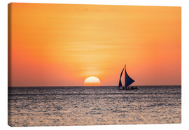 Canvas print  Sailboat in the sunset